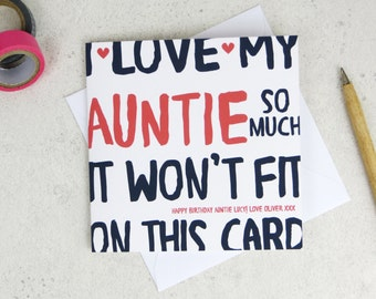 Funny Auntie Birthday Card - personalised card - card for auntie - birthday card - funny card - auntie birthday - uk