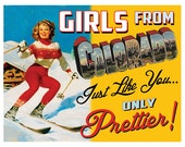 Girls From Colorad Retro Pin Up Girl State Prints