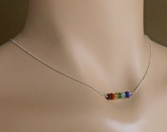 Chakra Necklace, Rainbow Bar Necklace with Natural Cut Gemstones in Rose Gold, Yellow Gold, Sterling Silver or Gunmetal Oxidized Silver