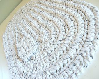 Oval Cotton Bath Mat, White w/ Black Crochet Bath Rug, Rag Rug Designed, Mother's Day Spa Gift Ideas, Area Floor Rugs, Soap Bag Gift