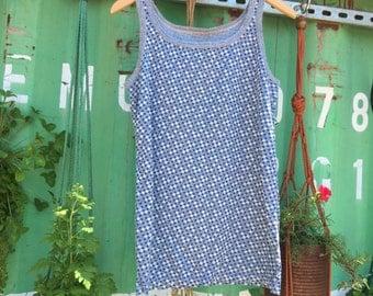 VINTAGE 1960's Blue Patterned Knit Tank Top