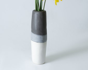 "10.75"" Matte White, Grey and Black Stoneware / Porcelain Flower Vase /  Hand built - Contemporary unique gift - Ceramic Pottery - Modern"