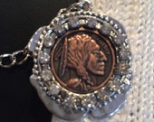 Sweater Clips: Indian Head Nickle with Rhinestones