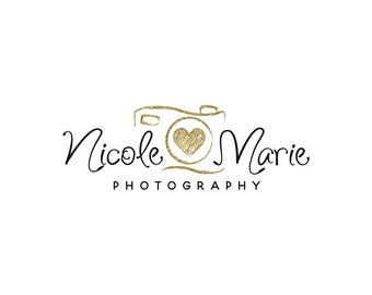 Premade gold photography logo design, photography watermark,  calligraphy script font logo 338