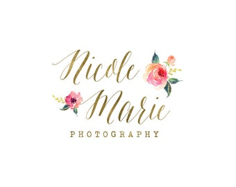 Gold foil floral logo, premade photography logo and watermark, elegant gold glitter logo with flowers 248