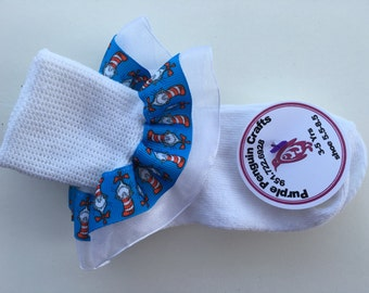 Super cute Dr. Seuss Ruffle Socks + Add Bows Blue