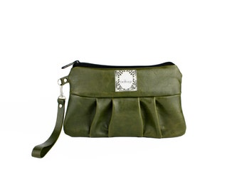 "Olive Green Leather Wallet, Wristlet, Soft Leather Clutch, Gift for Her, Birdbags ""Kelly Wren"" Pleated Clutch"