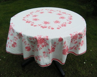 Vintage Round Tablecloth, Large Retro Synthetic Floral Tablecloth in Pink and White, Mid Century Round Picnic Tablelcoth, Table Linens
