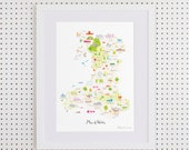 Map of Wales Art Print