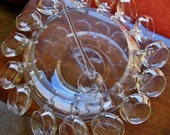 Mid Century modern punch bowl vintage crystal Riekes Crisa of Italy plus ladle and cups hand blown