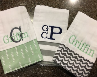 burp cloths for boys--set of 3, monogrammed burp cloth, personalized burp cloth for boys