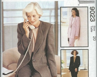 ON SALE McCall's 9023 Misses Lined Jacket, Top and Pants Pattern, Palmer & Pletsch, Size 20 UNCUT