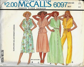 McCall's 6097 Misses Dress or Top And Pants Pattern, Size 22, UNCUT