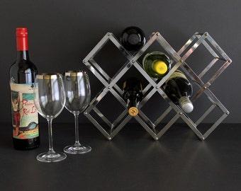 Vintage Wine Rack Hollyood Regency Stainless Steel Collapsing Metal Bottle Holder Expanding
