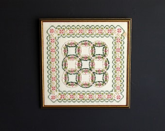 Vintage Candlewick and Embroidery Framed Needlework Double Wedding Ring Design