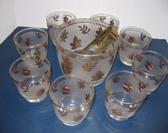 Vintage Set of Gold Leaf Drinking Glasses with Matching Ice Bucket