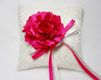 Wedding ring pillow, lace ring pillow, hot pink ring pillow, wedding ring bearer pillow, ring cushion