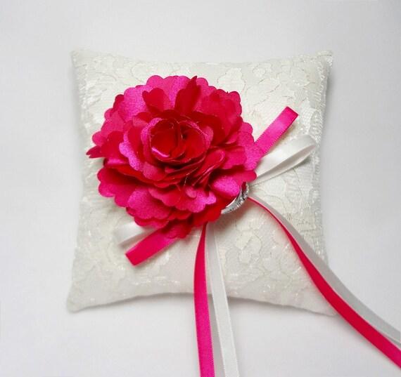 Wedding ring pillow, lace ring pillow, hot pink ring pillow, wedding ring bearer pillow, ring cushion