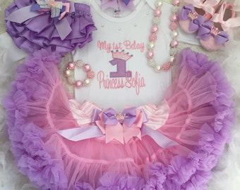 5-pc set Tiara Birthday outfit- include Personalised top,skirt,headband,necklace and bracelet