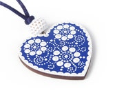 Mintapalinta POP Wooden Heart-shaped Pendants, Handpainted with Hungarian Gingerbread Motifs, Blue / Red / Brown / Terracotta