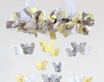 Small Butterfly Mobile- Yellow, Gray & White - Nursery Decor, Baby Shower Gift, Nursery Mobile