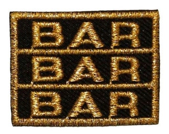 ID #0081B Triple Bar Slot Casino Gambling Embroidered Iron On Badge Applique Patch