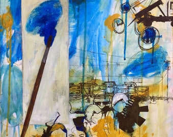 original mixed media painting, 'changing places', acrylic, pen, graphite, yellow and blue painting,