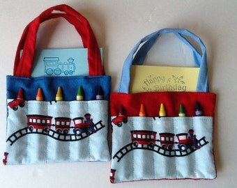 Train Children's Crayon Bag and Customized Paper, Birthday Party Favor