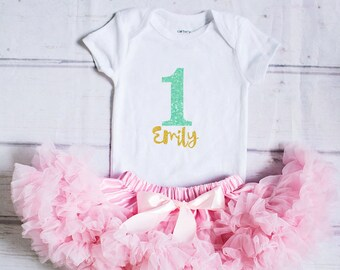 Girl Gold Mint Birthday Outfit...Girl Birthday Clothing..Gold Mint Pink Cake Smash Outfit..Personalized Girl Skirt Top Set..Birthday Outfit