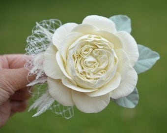 Ivory English Rose Hair fascinator. Ivory Rose Hair Clip
