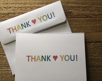 Rainbow Thank You Note Card Set, Thank You Stationery Set, Thank You Greeting Cards, Set of 5 or 10, Rainbow Cards Set, Fun Rainbow Cards