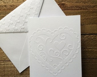 Heart Cards, White Embossed Note Cards, Stationery Set, Greeting Cards, Love Cards, Valentine's Day Note Card Set, Blank Note Cards