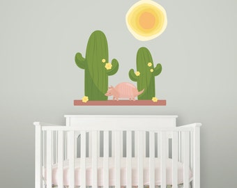 Armadillo Desert Wall Decal- Printed Wall Decal,  Cactus Wall, Removable Wall Decal, Desert Decor, Cactus Decor, Cactus Wall, Desert Theme
