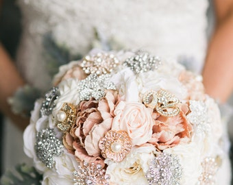 English Garden Flower Brooch Bouquet DEPOSIT