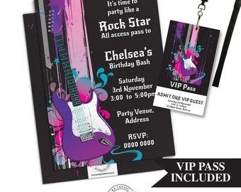 Rock Star Party Invitation | Rock Star  Party Invitation Printable | Rock Star Party | Party Printables