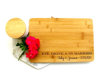 Personalized Cutting Board, Custom Cutting Board, Wedding cutting board, Eat, Drink and Be Married - Solid Line