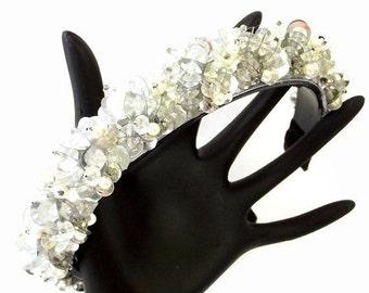FALL SALE, Beaded Crystal Headband - Jewel Hair Accessory - Crystal Bridal Hair Accessory - Ballet Hair Band