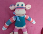Handmade Sock Monkey Doll In Turquoise Coral And Pink Stripes
