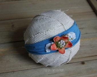 Blue & Coral Newborn Headband Prop