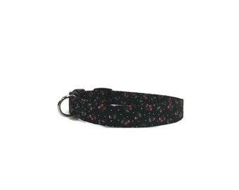 Dog Collar Cherries on Black Adjustable Collar Quick Ship