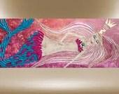 original mermaid painting texturedsea creatures impasto art 40x16 FREE SHIP