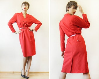 Vintage red pinstripe wool handmade double breasted waisted midi dress S