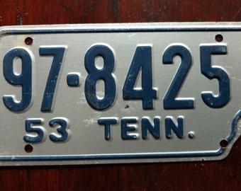 Vintage 1953 Mini Tin License Plate Tennessee TN Volunteer Staye