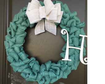 teal blue burlap wreath with letter and ribbon