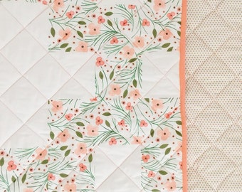 Baby Blanket Winter Floral Plus Wholecloth Blanket. Baby Blanket. Coral Baby Blanket. Floral Baby Blanket. Baby Girl Blanket.