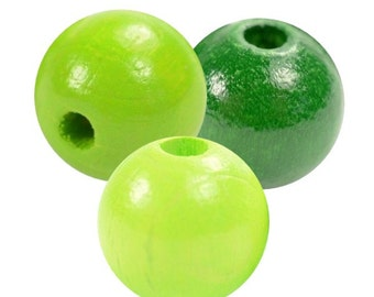 Exclusive wooden beads apple/lime green mix