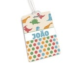 Personalized backpack tag boys school name tag, beige dinossaur theme - front and back print - TG8