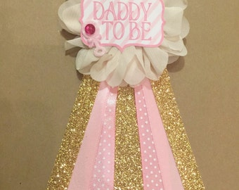 Pink gold polkda dots Baby Shower Pin Mommy to be pin Ribbon Pin Corsage Glitter Rhinestone gold glam shower shabby chic mom to be mama m