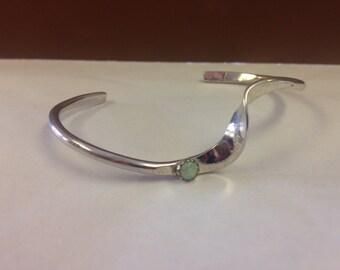 Sterling Silver Handmade White Opal Inlay Bracelet
