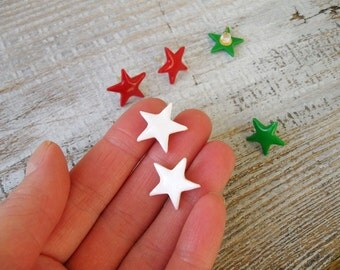 Star Stud Earrings Red White Green Christmas ear posts